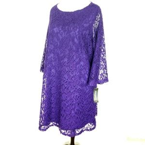 Sharagano NWT 24W Purple Lace Overlay Dress